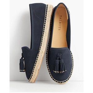 Talbots Navy Blue Ivy Tassel Espadrilles